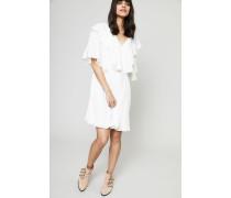 Seiden-Kleid mit Volant Iconic Milk - Seide