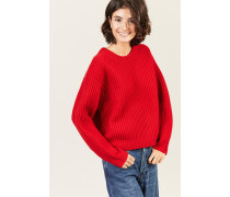 Chunky Rib Strickpullover Rot