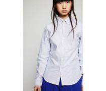 Bluse 'Ohio Face' Blau/Weiß - 100% Baumwolle