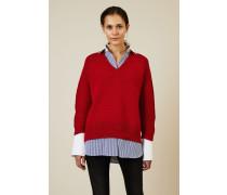 V-Neck Baumwoll-Pullover Rot - 100% Baumwolle