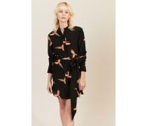 Seiden-Kleid mit Print Schwarz - Seide