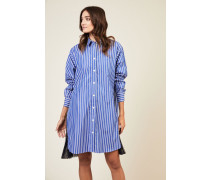 Kleid mit Plissee-Detail Blau/Weiß - 100% Baumwolle