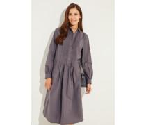 Baumwoll-Leinen-Hemdblusenkleid mit Streifen Grau