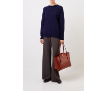 Cashmere Pullover mit Schleifen-Detail Marineblau