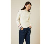 Woll-Cashmere-Pullover Écru/Rot/Blau - Cashmere