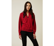 Cashmere Pullover mit Perlendetails Rot - Cashmere