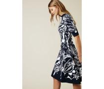 Strickkleid mit floralem Print Navy/Weiß