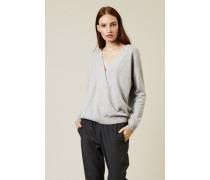 Oversized Cashmere-Pullover mit Perlenverzierung Silber - Cashmere