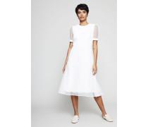 Langes Kleid aus Tüll Weiß - Seide