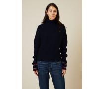 Woll-Cashmere-Pullover Blau/Weiß/Rot - Cashmere
