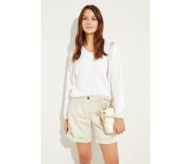 Baumwoll-Pullover mit transparenten Einsätzen Weiß