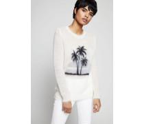 Mohair-Pullover mit Palmenmuster Weiß/Multi