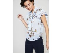 Gemusterte Bluse mit Volant Blau/Multi