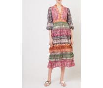 Baumwoll-Seiden-Kleid mit Print Multi