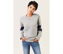 Woll-Pullover mit Streifedetails Grau/Blau