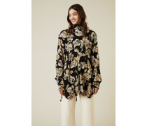Oversize Seiden-Bluse mit floralem Print Schwarz/Beige - Seide