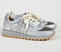 Sneaker mit glänzendem Element Silber - Leder