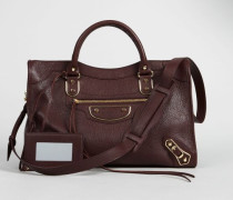 Schultertasche 'Classic Metallic Edge Small City' Bordeaux