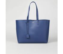 Weicher Glattleder-Shopper Blau