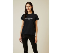 T-Shirt mit frontalem Druck Schwarz - 100% Baumwolle