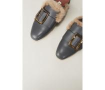 Leder-Mule 'Janesse Fur' mit Nerzbesatz Grau