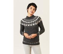 Woll-Alpaca-Pullover Anthrazit/Braun