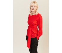 Bluse mit Wickeldetail Rot