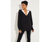 Seiden-Bluse mit Kragen Schwarz/Weiß