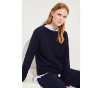 Handstrick-Cashmere-Pullover Marineblau