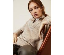 Oversized Cashmere-Seidenpullover mit Perlenverzierung Beige - Cashmere