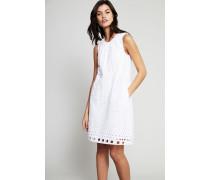 Zweilagiges Kleid mit Lochmuster Weiß - 100% Baumwolle
