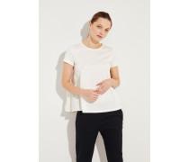 Ausgestelltes Baumwoll-Shirt Weiß- T-Shirt in Weiß - Rundhalsausschnitt - Kurze Ärmel - Ausgestellte Silhouette - Rückseite mit Quernähten - Auf Gesäßhöhe endend Größe des Models: 177cm Material 1: -