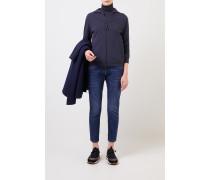 Baumwoll-Jacke mit Kapuze Marineblau
