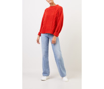 Woll-Cashmere-Pullover mit Zopfmuster Orange