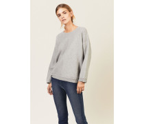 Woll-Cashmere-Pullover mit Struktur Grau - Cashmere