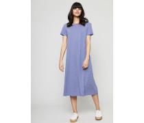 Gestreiftes Kurzarm-Kleid 'Lala' Bleu Fonce