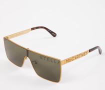 Sonnenbrille eckige Fassung Gold/Grün