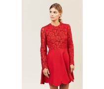 Woll-Seiden-Kleid mit Spitze Rot - Seide