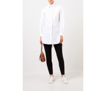 Lange Baumwoll-Bluse mit Struktur-Detail Weiß