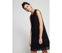 Zweilagiges Kleid mit Lochmuster Schwarz - 100% Baumwolle