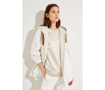 Baumwoll-Seiden-Jacke mit Perlenverzierung Weiß