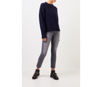 Woll-Cashmere-Pullover mit Zopfmuster Marineblau