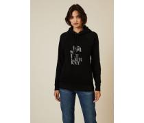 Hoodie mit Logo-Schriftzug Schwarz - 100% Baumwolle