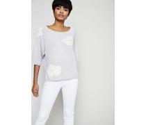 Cashmere-Pullover mit Blumenmotiv Grau - Cashmere