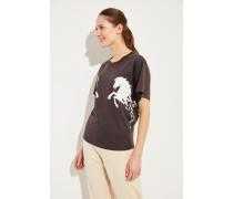 T-Shirt mit Pferde-Aufdruck Braun