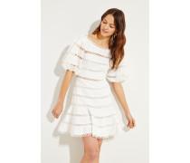 Mini-Kleid mit Volantsaum Crèmeweiß 52% Leinen - 48% Baumwolle Futter: -