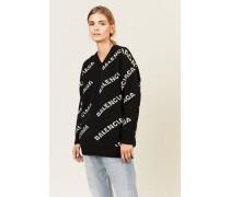 Oversize Wollpullover mit Schriftzug Grau/Schwarz