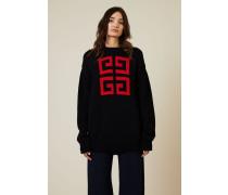 Oversize Baumwoll-Strickpullover mit Logo Blau/Rot - 100% Baumwolle