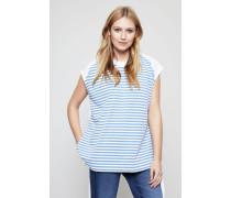 Baumwoll-Shirt mit Kordelzug am Saum Blau/Cremé