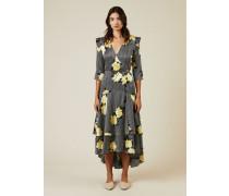 Wickel-Seidenkleid mit Blumenprint Multi - Seide